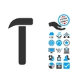 Hammer Flat Icon With Bonus vector image vector image