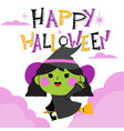 happy halloween greeting card with cute character vector image