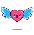 heart cartoon character icon kawaii with wings vector image vector image