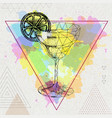 hipster realistic and polygonal cocktail margarita vector image vector image