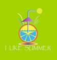 i love summer an orange on a green background vector image