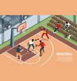 isometric basketball horizontal background vector image