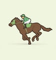 jockey riding horse cartoon sport graphic vector image