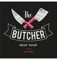 logo of butcher meat shop with cleaver and chefs vector image