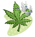 marijuana leaf cartoon character smoking bong vector image vector image