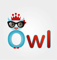 Nerd owl wearing a crown vector image vector image