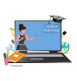 online education with teacher woman vector image