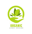 organic logo design healthy premium quality food vector image vector image