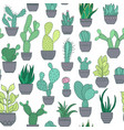 potted cactus succulent plants seamless pattern vector image