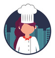 restaurant female chef with cityscape vector image vector image