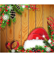 santa hat on wooden background vector image vector image