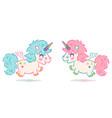 set cute unicorns vector image vector image