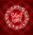 silent night hand lettering christmas greeting vector image