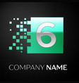 silver number six logo symbol in the green square vector image vector image