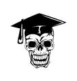 skull in graduation cap vector image vector image