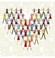 Social media people in heart shape vector image vector image