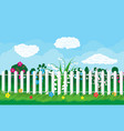 summer nature landscape with plants and fence vector image vector image