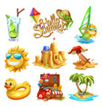 summer set 3d icon vector image vector image
