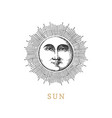 sun hand drawn in engraving style image vector image vector image