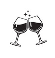 two glasses wine cheers with wineglasses vector image vector image