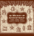 vintage christmas card with decorations brown vector image vector image