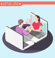 virtual love isometric background vector image vector image