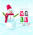 winter salebackground with snowman and falling vector image vector image