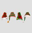 winter woolen elves hat christmas set xmas green vector image vector image