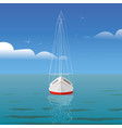 yacht at sea with reflection and seagulls front vector image vector image