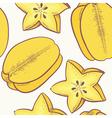 Yellow carambola seamless pattern vector image vector image