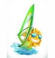 summer windsurfing funny sun on surfboard 3d icon vector image