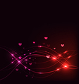 Background with Overlaying wavy lines and hearts vector image
