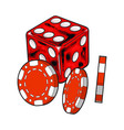 shiny red dice and gambling chips casino vector image