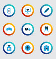 antibiotic colorful icons set collection of vector image
