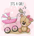 baby carriage and teddy bear vector image vector image
