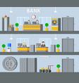 bank interior horizontal banners vector image vector image