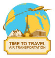 banner with plane landmarks and planet earth vector image vector image
