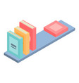 books on wood shelf icon isometric style vector image
