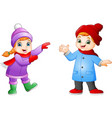 cartoon girl and boy wearing winter clothes vector image vector image