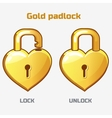 cartoon gold padlock in heart shaped vector image