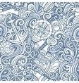 Cartoon hand-drawn nautical doodles seamless vector image