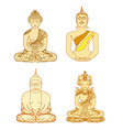 Chinese Traditional Artistic Buddhism Pattern set vector image vector image
