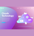 clouds computing technology landing page vector image vector image