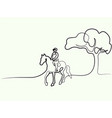 continuous one line drawing horse logo vector image vector image