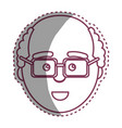 contour man with facial expression using glasses vector image vector image