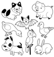 Cute animals black and white set