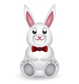 Cute white bunny with bow vector image vector image