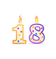 eighteen years anniversary 18 number shaped vector image vector image