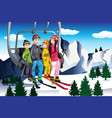 family going skiing sitting on a ski lift vector image vector image
