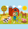 farmer and farm animals in barnyard vector image vector image